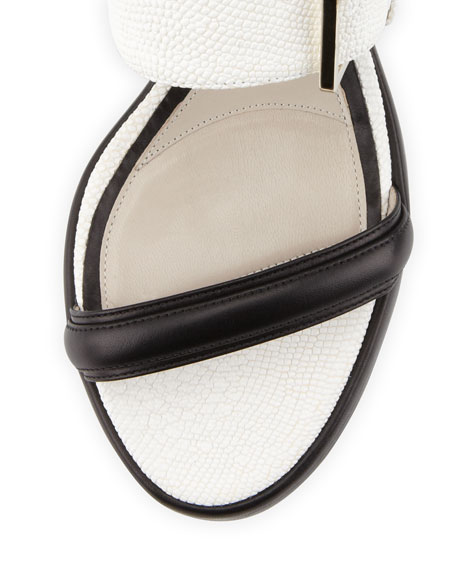 Bicolor Buckled Double-Band Sandal