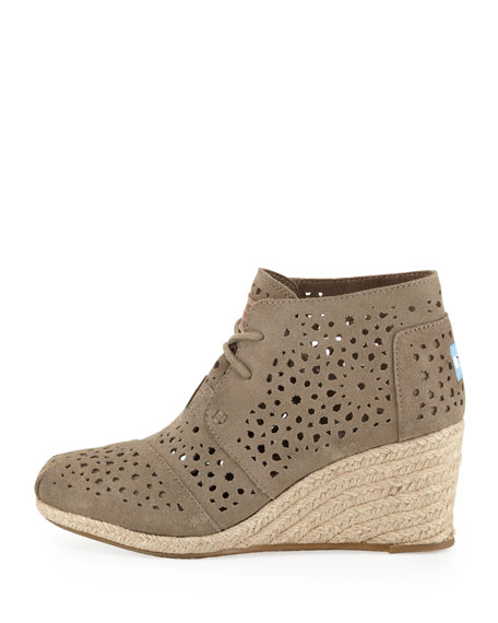 Moroccan Cutout Suede Wedge Boot, Taupe