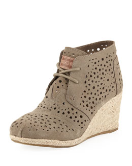 TOMS Moroccan Cutout Suede Wedge Boot, Taupe