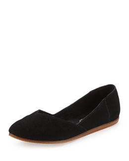 TOMS Jutti Point-Toe Suede Ballerina Flat, Black