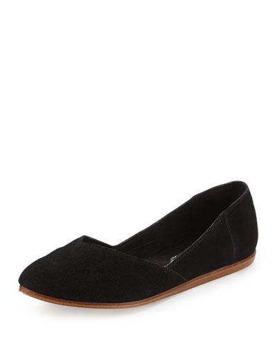 TOMS Jutti Point-Toe Suede Ballerina Flat, Black