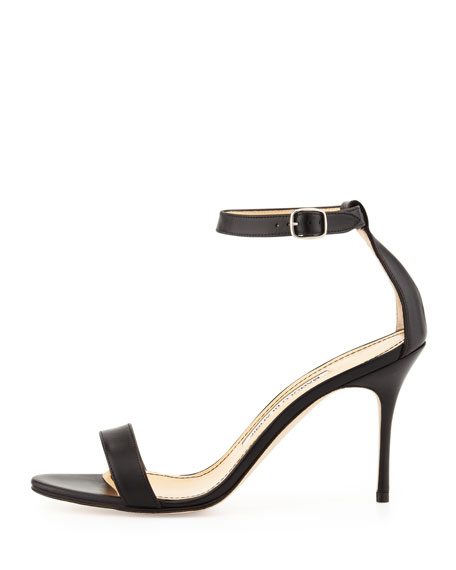 Chaos Leather Ankle-Wrap Sandal, Black