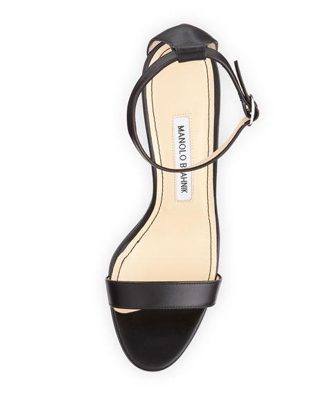 Chaos Leather Ankle-Wrap Sandal, Black