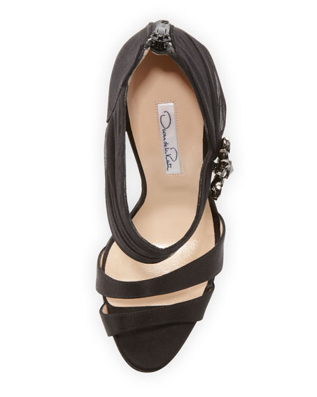 Satin Double-Band Sandal, Black