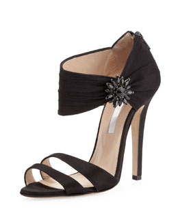 Oscar de la Renta Satin Double-Band Sandal, Black