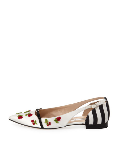 Flat Pointed-Toe Cherry Ballerina, Black/White