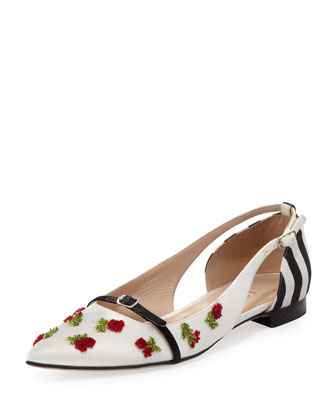 Oscar de la Renta Flat Pointed-Toe Cherry Ballerina, Black/White