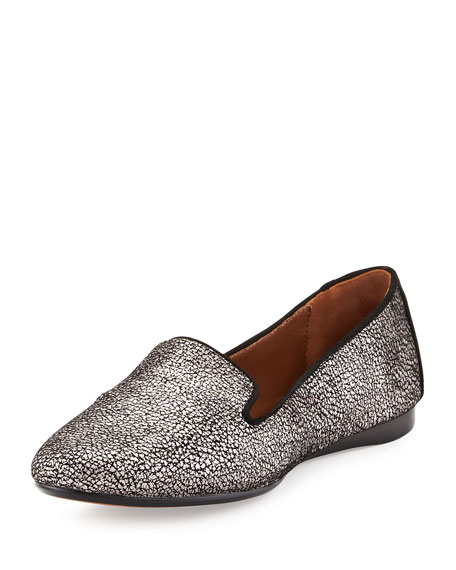 Dendasp Crackled Metallic Loafer, Pewter