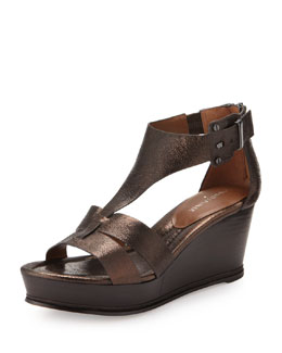 Donald J Pliner Fame Metallic Leather Wedge Sandal