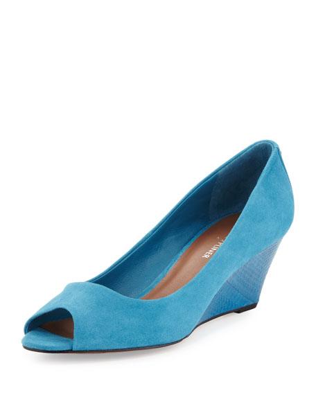 Milli Peep-Toe Suede Wedge, Blue