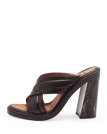 Faux-Leather Veneer-Heel Crisscross Slide, Oak