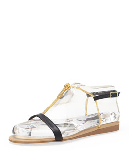 Stella McCartney Zipper Chain T-Strap Sandal, Black Electrum