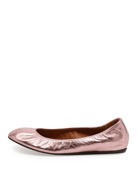Metallic Leather Ballerina Flat, Pink