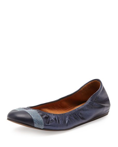 Metallic Cap-Toe Ballerina Flat, Midnight Blue