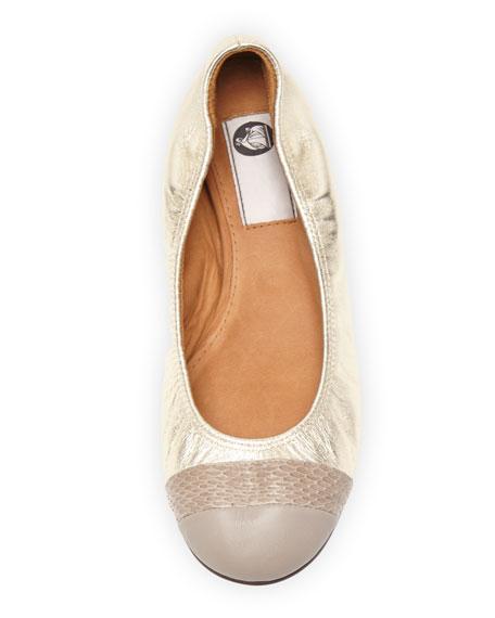 Metallic Cap-Toe Ballerina Flat, Platinum