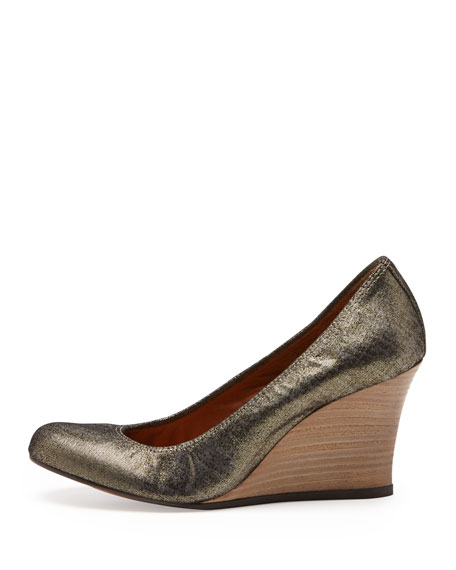 Metallic Ballerina Wedge Pump, Gold