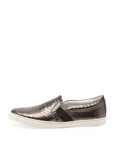 Snake-Embossed Slip-On Sneaker, Silver