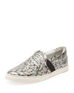 Lanvin Metallic Jacquard Slip-On Sneaker, Multicolor
