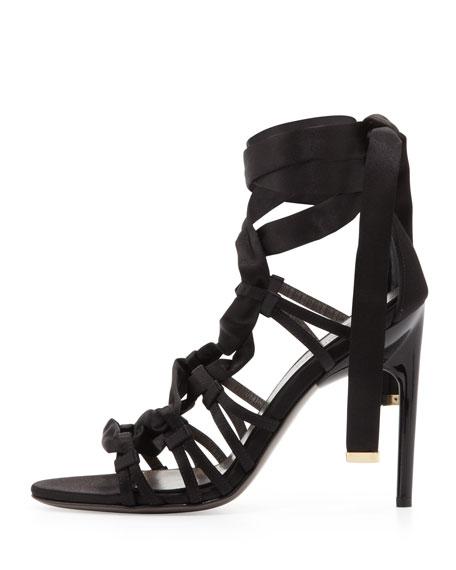 Satin Strappy Sandal, Black