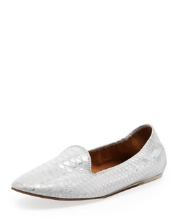 Lanvin Python-Print Smoking Slipper, Silver