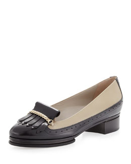 Jason Wu Two-Tone Chunky Kiltie Loafer, Beige/Black