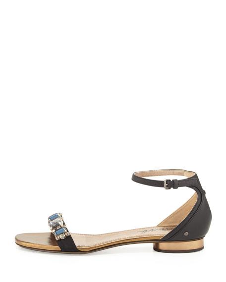 Crystal-Toe-Strap Sandal, Black