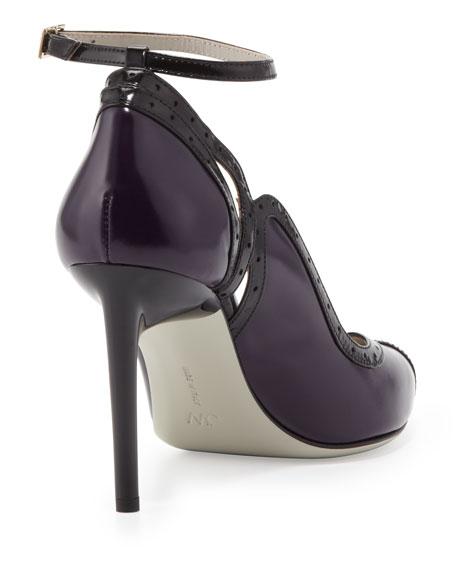 Brogue-Trim Ankle-Wrap Pump, Violet/Black