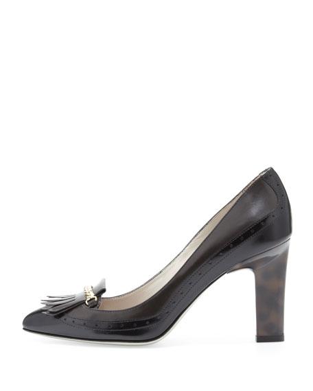 Calfskin Loafer Pump, Gray/Black