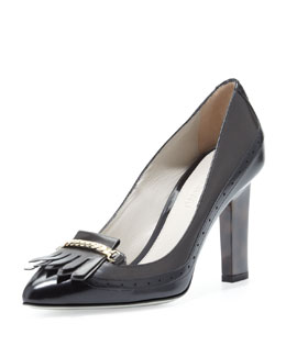 Jason Wu Calfskin Loafer Pump, Gray/Black