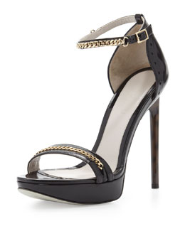 Jason Wu Platform Sandal with Chain Trim, Black