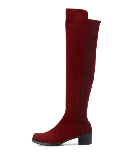 Reserve Narrow Suede Stretch Over-the-Knee Boot, Scarlet