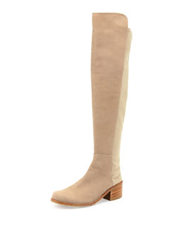 Stuart Weitzman 50/50 Nubuck Stretch Over-the-Knee Boot, Tan