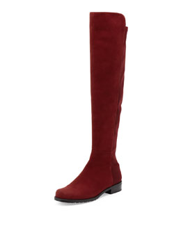 Stuart Weitzman 50/50 Narrow Suede Stretch Over-the-Knee Boot, Scarlet