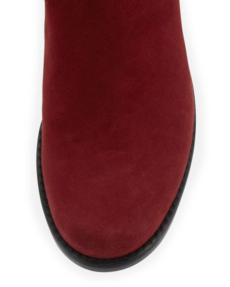 50/50 Suede Stretch Over-the-Knee Boot, Scarlet