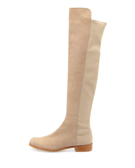 50/50 Narrow Nubuck To-the-Knee Boot, Tan