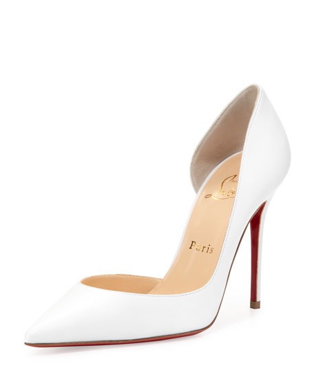 Iriza Red Sole Half-d'Orsay Pump, White