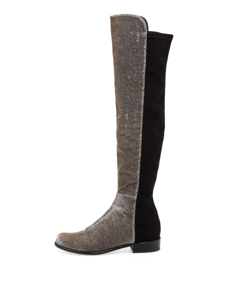 50/50 Wide Metallic Stretch Over-the-Knee Boot, Pyrite Nocturn