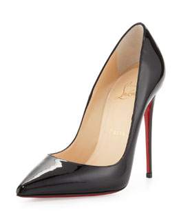 Christian Louboutin So Kate Patent Pointed-Toe Red Sole Pump, Black