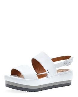 Fendi Napa Leather Platform Sandal, White