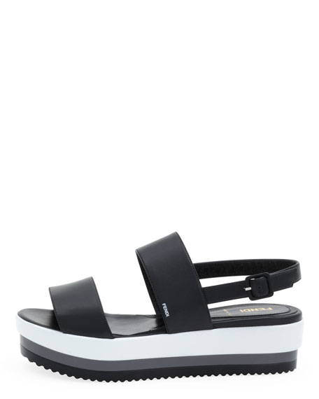 Napa Leather Platform Sandal, Black