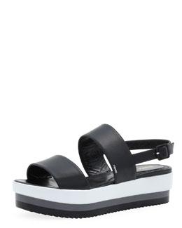 Fendi Napa Leather Platform Sandal, Black