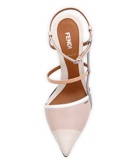 Point-Toe Colorblock Sandal, Pink/White
