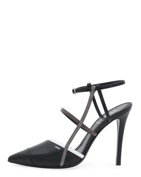 Point-Toe Colorblock Sandal, Black/White