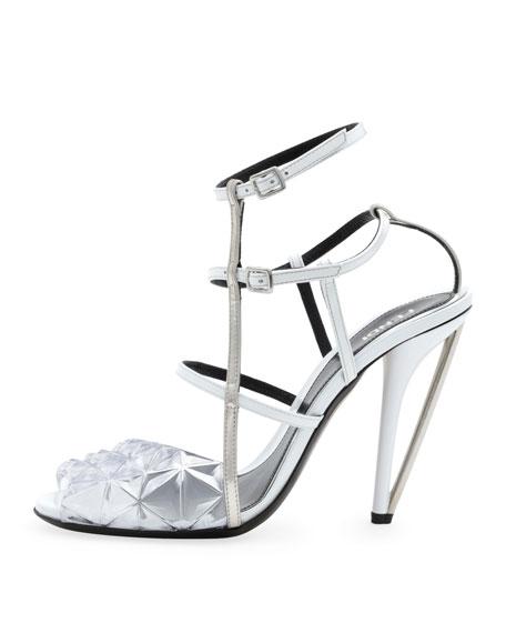 Fendi Molded PVC Leather Sandal, White