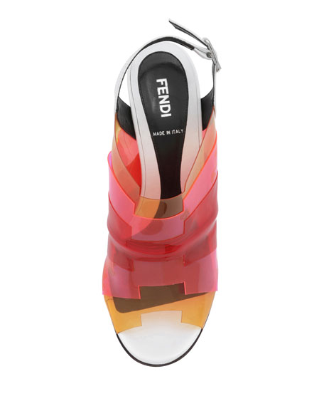 Colorblock PVC Sandal, White/Almond/Red