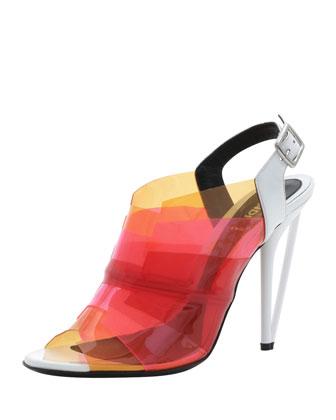 Fendi Colorblock PVC Sandal, White/Almond/Red