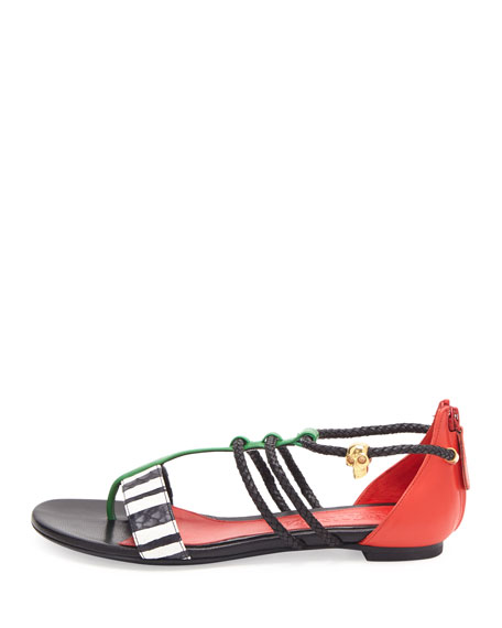 Alexander McQueen Woven T-Strap Thong Sandal, Ivory/Black