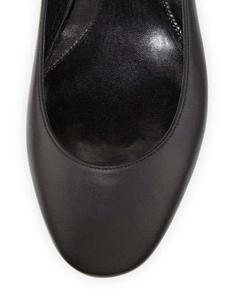 Leather Ballerina Flat with Ankle Wrap, Black