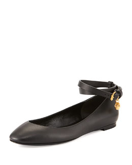 Alexander McQueen Leather Ballerina Flat with Ankle Wrap, Black