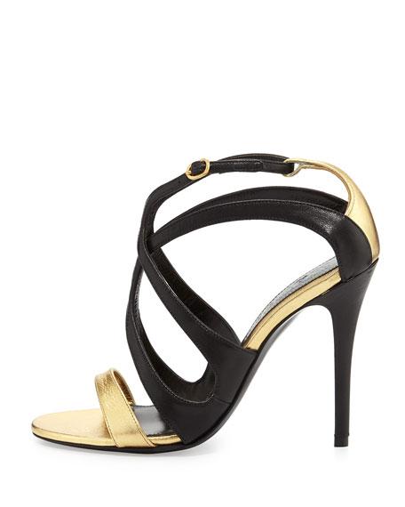 Strappy Metallic Napa Sandal, Black/Gold